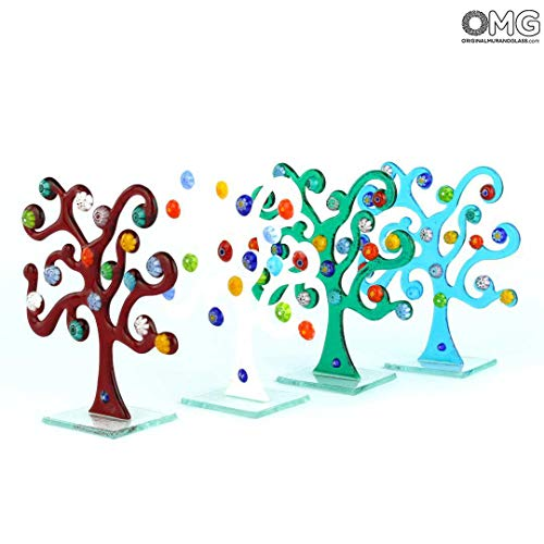 - Original Murano Glass OMG Tree of Life Paperweight - with millefiori - Original Murano Glass