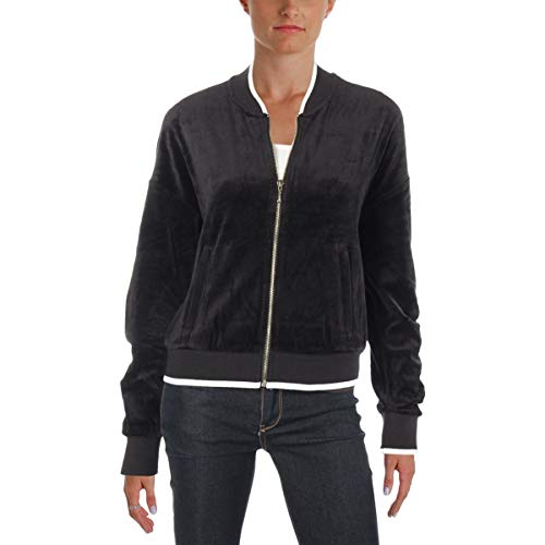 - Juicy Couture Women's Velour Ruched Sleeve Jacket Pitch Black Outerwear