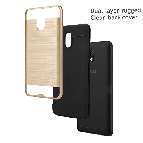 BLU Life One X3 case + Screen Protector, (L0150WW) 5.5 inch case Tough Hybrid + Dual Layer Shockproof Drop Protection Metallic Brushed Case Cover for BLU Life One X3 case (VGC Black + SP) by NewFrontier (Image #4)