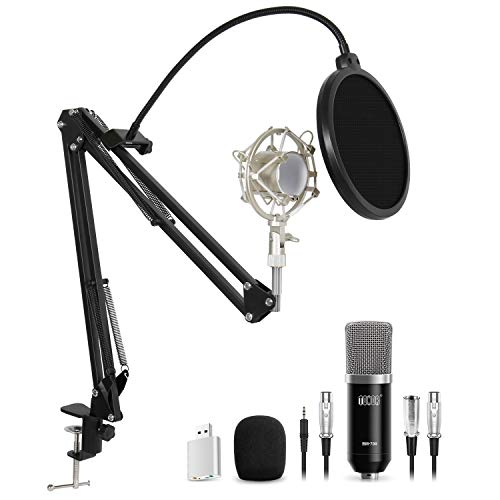 TONOR XLR Condenser Microphone Kit with XLR to XLR Cable/3.5mm to XLR/Adjustable Mic Suspension Scissor Arm/Shock Mount/USB Audio Adapter for Professional Studio/Home Recording, Podcasting, Black (Best Microphone For Radio Studio)