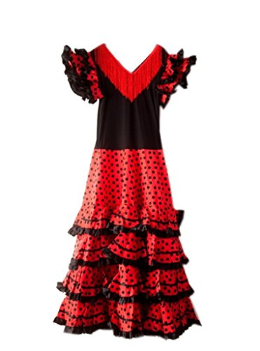 La Senorita Spanish Flamenco Dress Fancy Dress Costume - Ladies/Women (Size 20 - Length 125 cm, 49 inch) Black Red]()