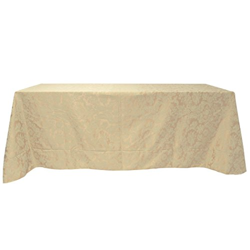 Ultimate Textile (2 Pack) Miranda 90 x 156-Inch Rectangular Damask Tablecloth - Jacquard Weave, Champagne Ivory Cream by Ultimate Textile