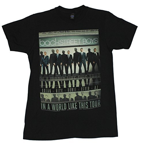 Backstreet Boys Mens T-Shirt - World Like This Tour Lined Repeated Images (Small) (Backstreet Boys Shirt)