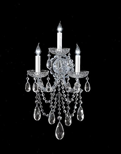Crystorama 4423-GD-CL-MWP Crystal Three Light Wall Sconce from Maria Theresa collection in Gold, Champ, Gld Leaffinish, 8.00 inches (Gd 1 Light Outdoor Fixture)