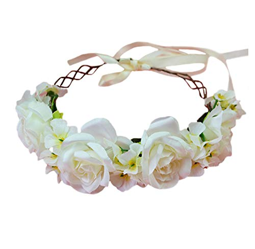 Vivivalue Rose Flower Crown Boho Flower Headband Hair Wreath Floral Headpiece Halo with Ribbon Wedding Party Festival Photos Beige
