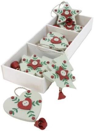 Árbol de Navidad caja de 9 blanco, corazón y estrella de madera árbol de Navidad decoraciones colgantes: Amazon.es: Hogar