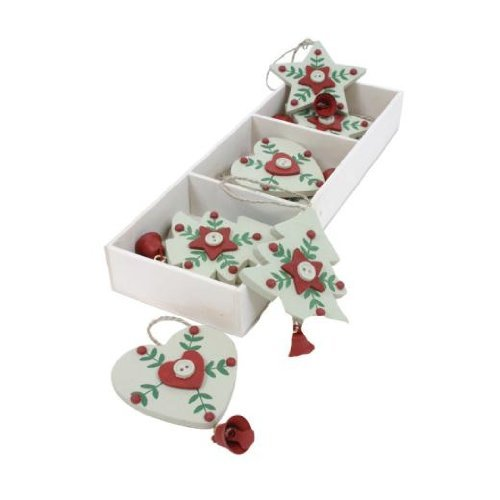 Box of 9 Christmas White Wooden Star, Heart & Tree Christmas Tree Hanging Decorations by Heaven Sends XMAS-HS-162