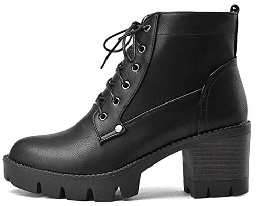 IDIFU Women's Casual Round Toe Lace Up Ankle Boots Mid Chunky Heels Platform Booties