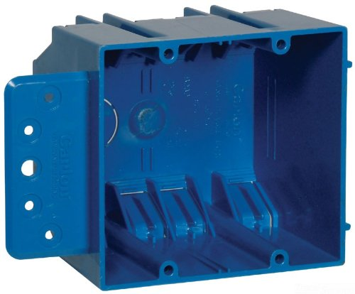 Carlon B232B-UPC Switch/Outlet Box, New Work, 2 Gang, 3-3/4-Inch Length by 4-Inch Width by 3-Inch Depth, Blue