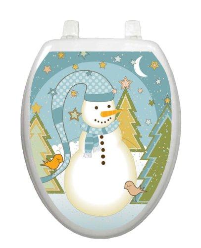 Folk Snowman Toilet Tattoo TT-X623-O Elongated Winter Snow Holiday by Toilet Tattoo