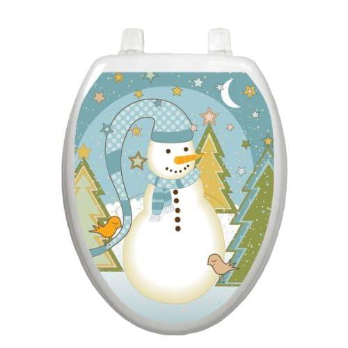 cheap Folk Snowman Toilet Tattoo TT-X623-O Elongated Winter Snow Holiday