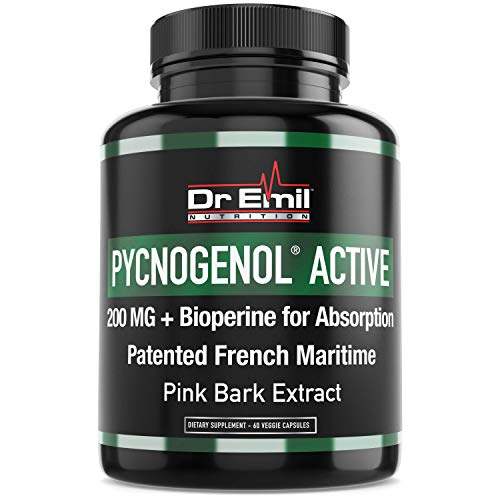 Pycnogenol 200mg with Bioperine for Enhanced Absorption – Patented Maritime Pine Bark Extract (60 Veggie Capsules)
