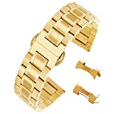 21mm Interchangeable Gold Stainless Steel Wristband for Men's Watch Brushed Polished Finish Watch Strap