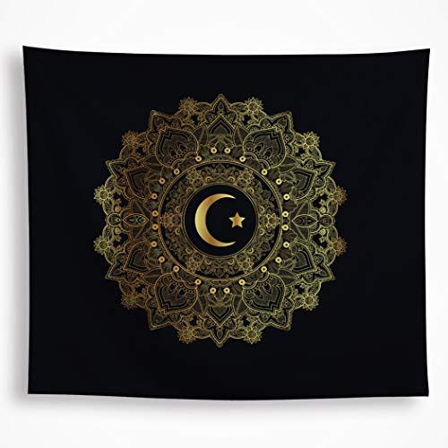 - VAKADO Indian Moon Star Tapestry Wall Hanging Black Background Gold Crescent Mandala Bohemian Paisley Ethnic Symbol Home Decor for Bedroom Living Room Dorm 51