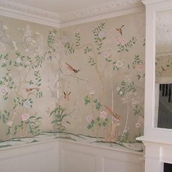 JING DIAN Fototapete Silberfolie Wallpaper Decken Wand Papier Europäischen  Hand Icbc Folie Phillips Malerei Blumen