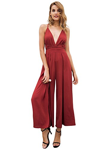 Simplee Women Sexy Deep V Neck Overalls Backless Print Wide Leg Chiffon Jumpsuit