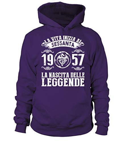 Teezily 60 - La Vita Inizia Ai Sessanta 1957 La Nascita delle Leggende - Felpa con Cappuccio Uomo Donna Purple