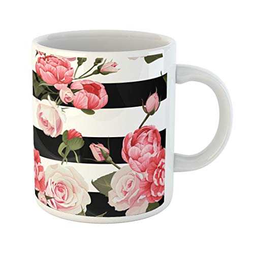 Semtomn Funny Coffee Mug Colorful Peony and Roses Black White Stripes Flowered Pink 11 Oz Ceramic Coffee Mugs Tea Cup Best Gift Or - Peony China Pink