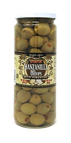 - Trader Joe's Spanish Manzanilla Olives with Pimentos NET WT. 14.5 OZ