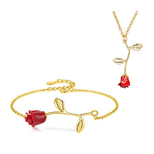 MUZHE Charm 3D Red Rose Flower Pendant Necklace, Romantic Rose Flower Necklace for Women, Personalized Red Rose Statement Necklace for Girls, Gardeners Necklace (N:Necklace+Bracelet(Gold))