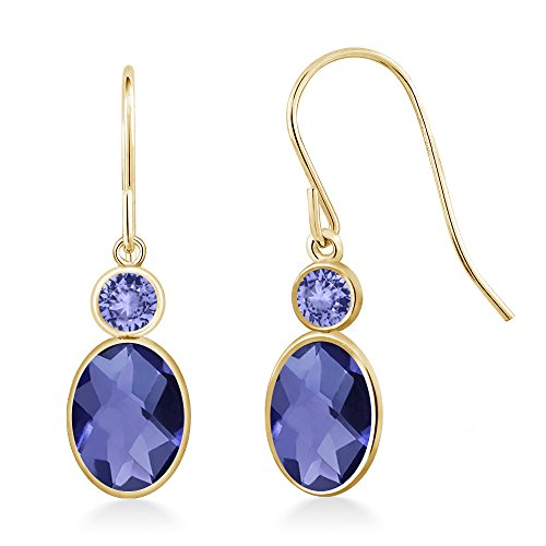 Gem Stone King 1.54 Ct Oval Checkerboard Blue Iolite Blue Tanzanite 14K Yellow Gold Earrings ()