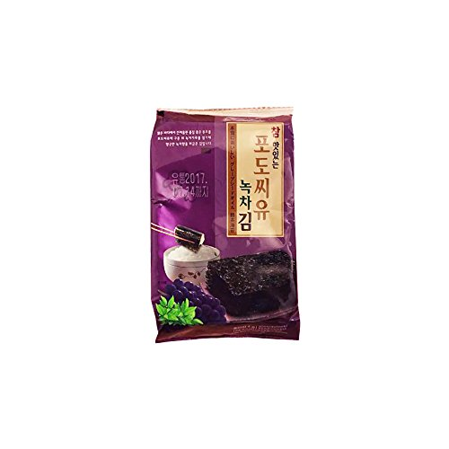 Korean Premium Roasted and Lightly Sea Salted Seasoned Green Tea and Grape Seed Oil Seaweed Individual Snack 4g (5 Pack) by All About Living (Image #1)
