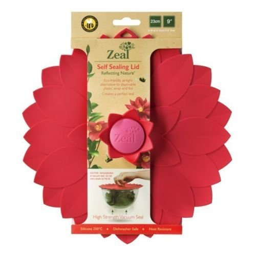"""Zeal Reflecting Nature 9"""" Flower Push to Seal Silicone Storage Lid (Red)"""