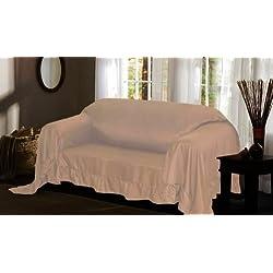 Elegant Comfort® Luxury Furniture Throw Cover, Ruffle Border, Sofa Taupe