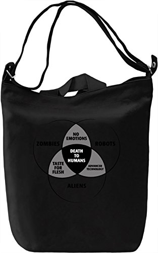 Zombies, Robots And Aliens Borsa Giornaliera Canvas Canvas Day Bag| 100% Premium Cotton Canvas| DTG Printing|
