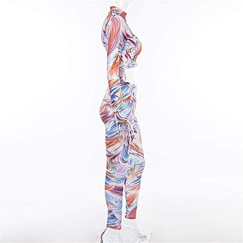 レディースジャージ上下セット 女性用3Dプリント長袖フィットネスセットスポーツ用ヨガウェア (サイズ : S)