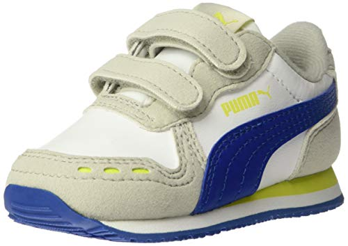 - PUMA Baby Cabana Racer Velcro Sneaker, White-Galaxy Blue-Gray Violet-Nrgy Yellow, 9 M US Toddler