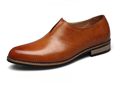 Hombres Verano Formal Superficial Cuero Zapatos Soltero Boda Negocio marrón Negro Punta puntiaguda Oxfords Primavera Plano tamaño 37-44 Brown