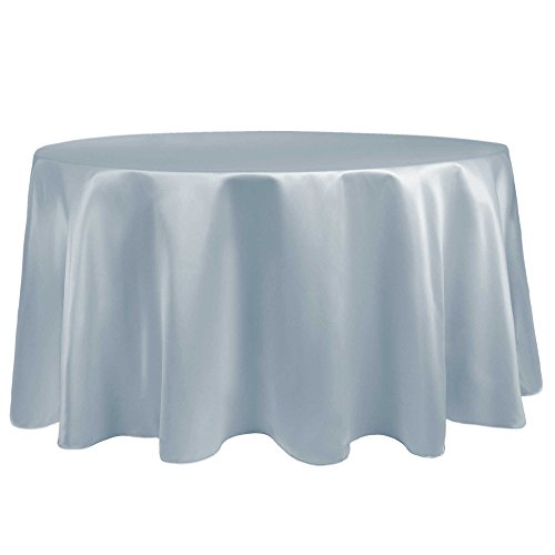 Ultimate Textile (10 Pack) Satin 120-Inch Round Tablecloth - for Wedding, Special Event or Banquet use, Ice Blue by Ultimate Textile