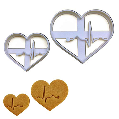 SET of 2 EKG/ECG cookie cutters Large and Small size 2 pcs Ideal as gifts for doctors nurses or for a Medical themed Party