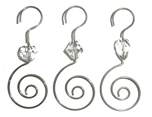 Scroll Swirl Ornament Hooks for Collectible Ornament Display, Pack of 12, Silver Tone with Rhinestone Bead Accent