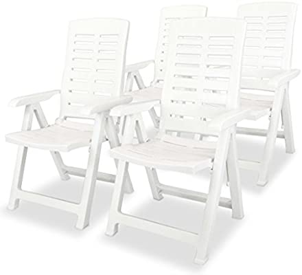 Festnight Juego de Muebles Exterior de Jardín de Plástico Mesa y Sillas de Comedor 5 Piezas Blanco: Amazon.es: Hogar