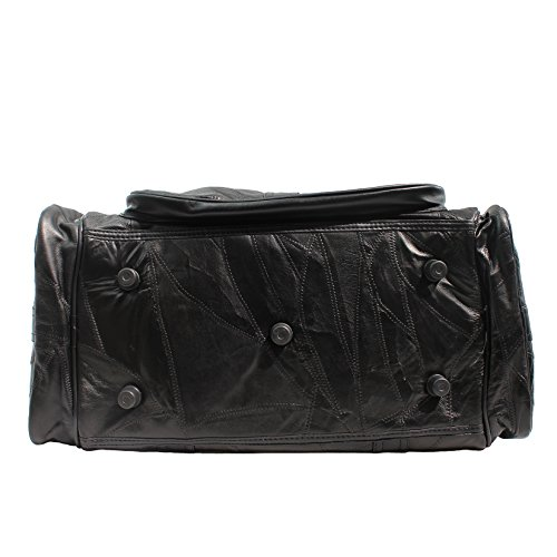 CTM Unisex bolsa de viaje de cuero con correa para el hombro interior - 46x29x23 Cm Negro
