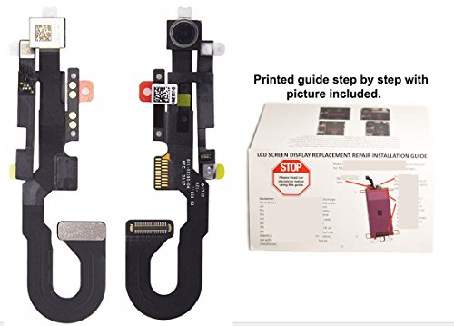 OEM Original Front Facing Camera Module Proximity + Light Sensor Flex Cable Assembly Replacement Repair Part + Printed Guide for iPhone 8 4.7″ Model A1863 A1905 A1906 ( All Carriers )