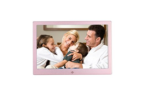 Becoler Ultra-thin Narrow 12-inch Metal Digital Photo Frame High-definition LED Electronic Album Advertising Machine Rose Red