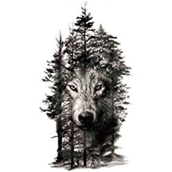 Set of 2 Waterproof Temporary Fake Tattoo Stickers Grey Forest Wolf Animals Large