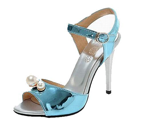 VogueZone009 Women Pu Buckle Open-Toe High-Heels Solid Sandals, CCALP015363 Blue