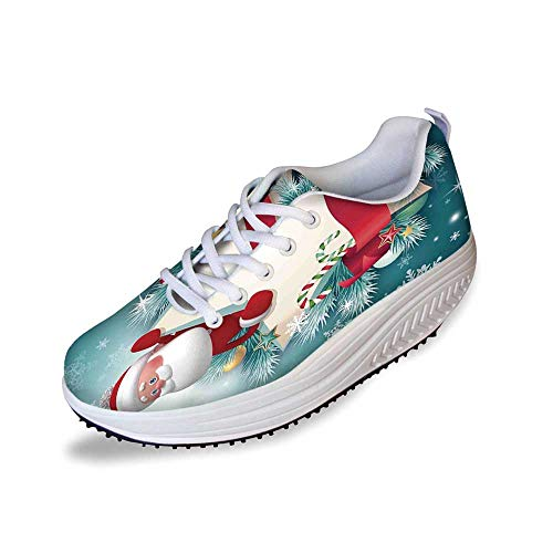 Christmas Decorations Stylish Shake Shoes,Santa Star Banner Snowflakes Ribbon and Candy Cane Tree Winter Theme for Women,5