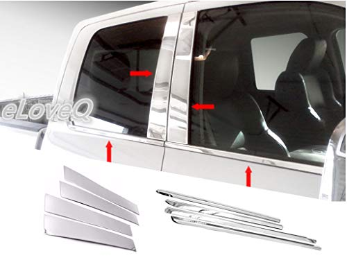 (eLoveQ Stainless Steel Chrome Pillar Post+Window Sill FOR 2009-2017 Dodge RAM 1500 Quad Cab - Combo)
