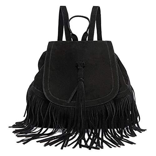WOG2008 Women's Fringed Backpack Faux Suede Tassel Shoulder Bags Travel Drawstring Hobo Handbags