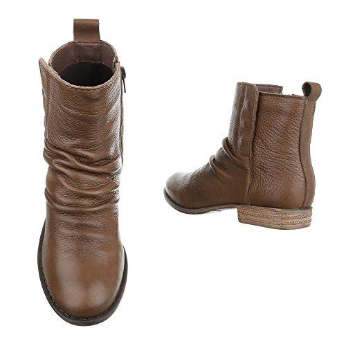 Ital-Design Komfort Stiefeletten Leder Damenschuhe Schlupfstiefel Blockabsatz Blockabsatz Reißverschluss Stiefeletten Braun