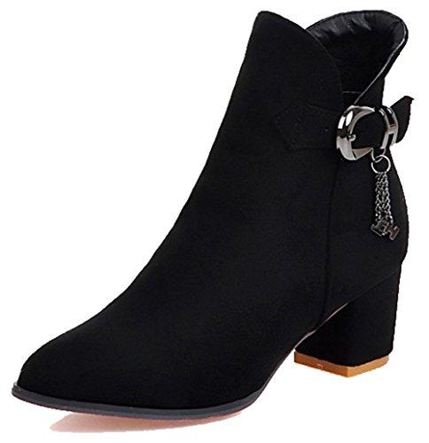Easemax Mujeres Trendy Hebilla Hebilla Colgante Del Dedo Del Pie Puntiagudo Mid Chunky Heel Side Zipper Botines Negro