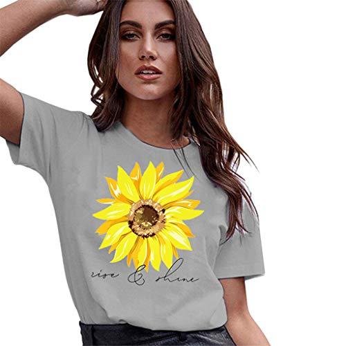 WYTong Explosion Models Hot Sunflower Pattern Print Shirt Summer Short-Sleeved Casual Wild Sports t-Shirt(Gray,S)