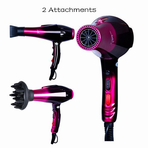 Professional Ionic Hair Dryer,Ceramic Powerful Fast Heat Salon Performance AC Motor Styling Tool,6000W Blow Dryer with Nozzle and Diffuser High Speed for Women Men Smooth(110V & 120V,6000W,Purple) by Mannice (Image #9)