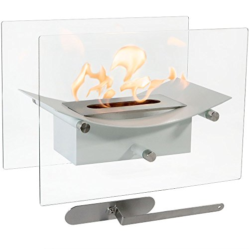 Sunnydaze Zen Tabletop Fireplace, Indoor Ventless Bio Ethanol Fire Pit, Long Lasting Burn Time, White ()