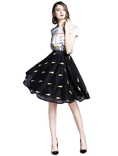 Faldas atractivas de la magdalena de las mujeres Falda princesa Bordado de malla Negro